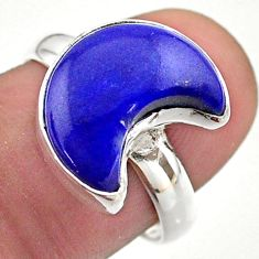 925 silver 6.10cts solitaire natural blue lapis lazuli moon ring size 7.5 t47726
