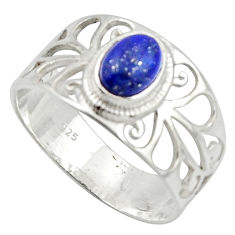 925 silver 1.56cts solitaire natural blue lapis lazuli oval ring size 7.5 r40823