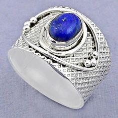 925 silver 2.02cts solitaire natural blue lapis lazuli oval ring size 7 t37213