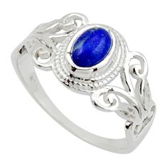 925 silver 1.46cts solitaire natural blue lapis lazuli oval ring size 8 r40744