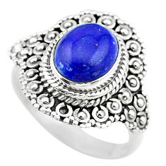 925 silver 4.37cts solitaire natural blue lapis lazuli oval ring size 8 t20127