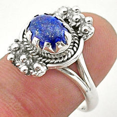 925 silver 2.98cts solitaire natural blue lapis lazuli oval ring size 7.5 t40658