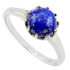 925 silver 2.72cts solitaire natural blue lapis lazuli ring size 8.5 r40544