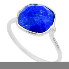 925 silver 5.46cts solitaire natural blue lapis lazuli ring size 7 t50694