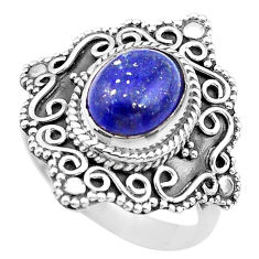 925 silver 4.51cts solitaire natural blue lapis lazuli ring size 8.5 t20090