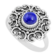925 silver 0.82cts solitaire natural blue lapis lazuli ring size 5.5 t4000