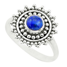 925 silver 0.80cts solitaire natural blue lapis lazuli round ring size 6 t3647