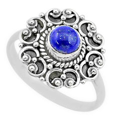 925 silver 0.82cts solitaire natural blue lapis lazuli round ring size 8 t3644