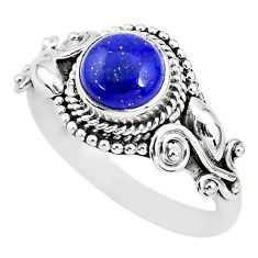925 silver 2.41cts solitaire natural blue lapis lazuli round ring size 9 t3143