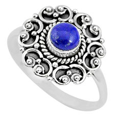 925 silver 0.82cts solitaire natural blue lapis lazuli round ring size 9 t3153
