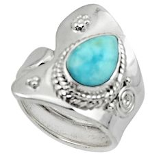 925 silver 2.56cts solitaire natural blue larimar adjustable ring size 6 r50196