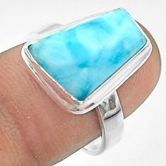 925 silver 7.12cts solitaire natural blue larimar fancy ring size 7.5 t56299