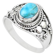 925 silver 2.17cts solitaire natural blue larimar oval ring size 8.5 t10204