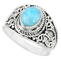 925 silver 2.17cts solitaire natural blue larimar oval ring size 7.5 t10216
