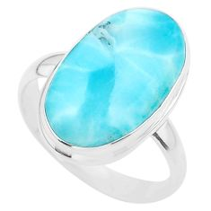 925 silver 15.11cts solitaire natural blue larimar oval ring size 11.5 t24593