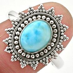 925 silver 2.98cts solitaire natural blue larimar oval shape ring size 10 t24335