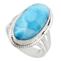 925 silver 12.96cts solitaire natural blue larimar oval shape ring size 6 r50207