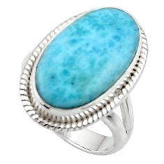 925 silver 8.55cts solitaire natural blue larimar oval shape ring size 6 r50224