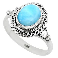 925 silver 3.10cts solitaire natural blue larimar oval shape ring size 6 t11270