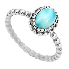 925 silver 1.51cts solitaire natural blue larimar oval shape ring size 6 t6347