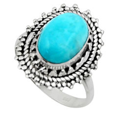 925 silver 4.51cts solitaire natural blue larimar oval shape ring size 7 r50147