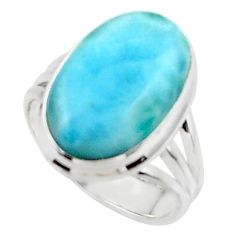925 silver 12.07cts solitaire natural blue larimar oval shape ring size 7 r50268