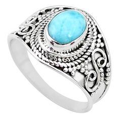 925 silver 1.96cts solitaire natural blue larimar oval shape ring size 7 t10209