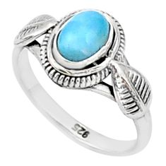 925 silver 1.51cts solitaire natural blue larimar oval shape ring size 7 t1431