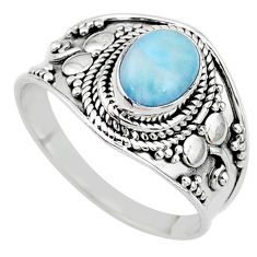 925 silver 2.20cts solitaire natural blue larimar oval shape ring size 9 t10230