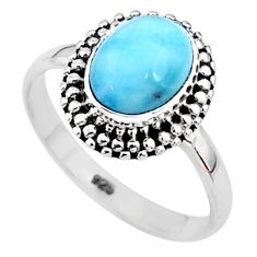 925 silver 3.13cts solitaire natural blue larimar oval shape ring size 9 t11183