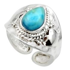 925 silver 2.56cts solitaire natural blue larimar pear ring size 7.5 r50135