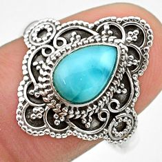 925 silver 2.17cts solitaire natural blue larimar pear ring size 9.5 t30631