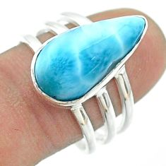 925 silver 7.00cts solitaire natural blue larimar pear ring size 8.5 t56352