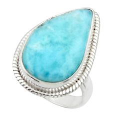 925 silver 13.66cts solitaire natural blue larimar pear shape ring size 6 r50253