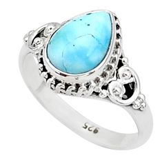 925 silver 2.58cts solitaire natural blue larimar pear shape ring size 6 t4978