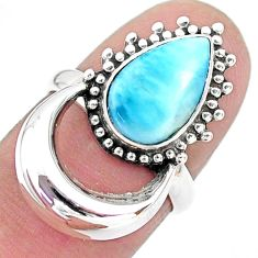 925 silver 4.22cts solitaire natural blue larimar pear shape ring size 6 t6396