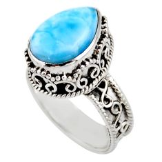 925 silver 6.75cts solitaire natural blue larimar pear shape ring size 7 r51885