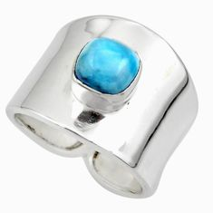 925 silver 2.51cts solitaire natural blue larimar ring jewelry size 7 r49871