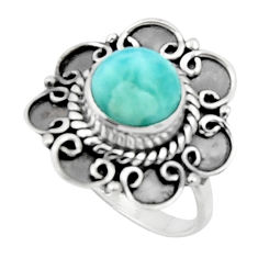 925 silver 3.32cts solitaire natural blue larimar round ring size 7 r50150
