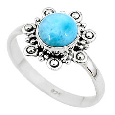 925 silver 2.11cts solitaire natural blue larimar round ring size 8 t11198