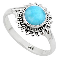 925 silver 2.54cts solitaire natural blue larimar round ring size 8 t11239