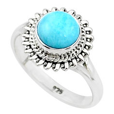 925 silver 2.42cts solitaire natural blue larimar round ring size 8 t4916