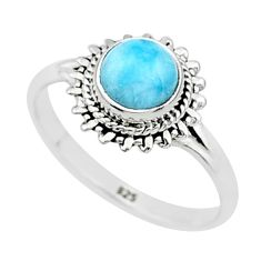 925 silver 2.42cts solitaire natural blue larimar round shape ring size 9 t4919