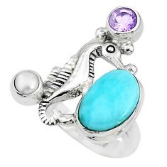 925 silver 5.08cts solitaire natural blue larimar seahorse ring size 7 t10412