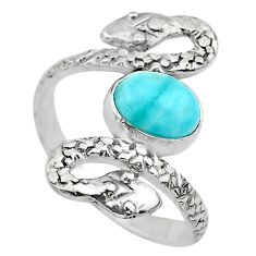 925 silver 3.13cts solitaire natural blue larimar snake ring size 10 t31923