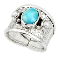 925 silver 3.29cts solitaire natural blue larimar white pearl ring size 7 r50860