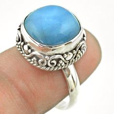 925 silver 6.55cts solitaire natural blue owyhee opal cushion ring size 7 t55877