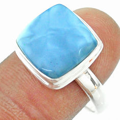 925 silver 6.53cts solitaire natural blue owyhee opal cushion ring size 9 t54031