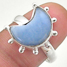 925 silver 5.38cts solitaire natural blue owyhee opal moon ring size 9 t47804