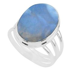 925 silver 15.11cts solitaire natural blue owyhee opal oval ring size 10 t17853